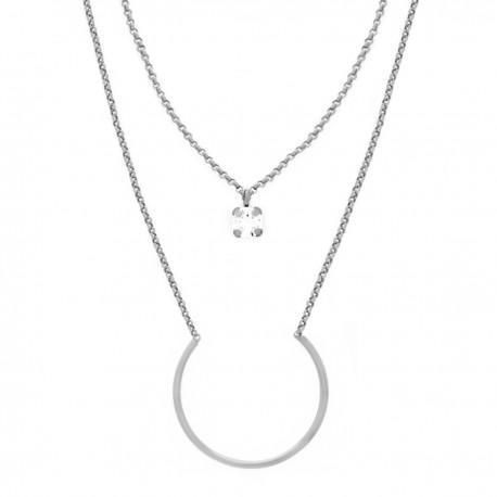 Collar doble Semicírculo y Crystal de VICTORIA CRUZ