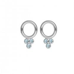 Pendientes círculo aquamarine de Dahlia en plata - VICTORIA CRUZ